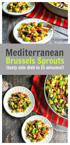 Mediterranean Brussels Sprouts Side Dish - easy, tasty side dish in 15 minutes! Gluten Free Recipes Side Dishes, Low Carb Side Dishes, Healthy Side Dishes, Vegetable Side Dishes, Side Dishes Easy, Vegetable Recipes, Main Dishes, Eating Vegetables, Healthy Vegetables