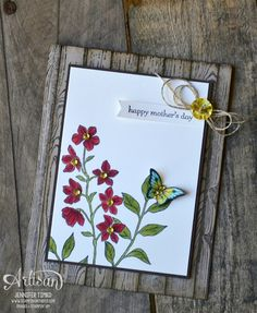 "By Jennifer Timko,  featuring Stampin' Up! stamp sets ""Peaceful Petals"", ""Papillon Potpourri:, and ""Hardwood"""