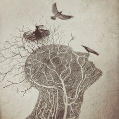 """Эскиз из новой серии работ для @sklifart . Серия называется """"территория Нейрохирургии"""". Всё это сложилось из идеи @dollechka """"Мысли""""!, моего виденья на это и подсказки Нейрохирурга:) #sklifart #katafonis #sclifart #dollechka #мозг #mri #brain #neurosurgery"""
