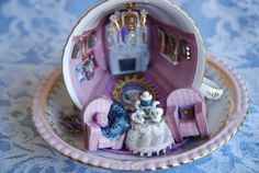 Teacup Miniature Czarina Alexandra Mauve Room by TinyT42 on Etsy, $75.00