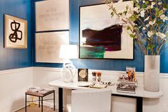 Rachel Laxer's tribute to Midsummer with a contemporary home office for the lady of the house! #interiordesign #homedecor #homeoffice #contemporaryart #blue