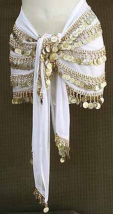 NEED for my bellydancing... White Belly Dance Hip Scarf 5 Line Gold Coins with Beads $19.99