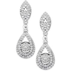 Wrapped in Love Diamond Dangling Drop Earrings in 14k White Gold (1 ct. t.w.) ($2,650) found on Polyvore featuring jewelry, earrings, accessories, white gold diamond jewelry, 14k diamond earrings, drop dangle earrings, 14k white gold jewelry and diamond earrings