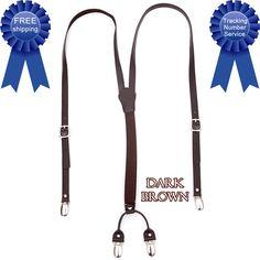 Men Women Genuine Leather Elastic Suspenders Y-Back Adjustable Braces Dark-Brown #springsummerfallwinter