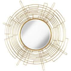 "Vector Antiqued Gold 50"" Round Openwork Wall Mirror"