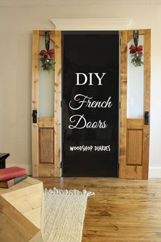 DIY Interior French Doors Dress up your closet or bathroom with these gorgeous DIY French doors Diy Interior French Doors, Interior Barn Doors, Diy Barn Door, Diy Door, French Country Rug, French Patio, Modern Country, Cross Country, Glass French Doors