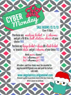 Don't miss these great CYBER MONDAY DEALS! They will only last 1 day! My cut off for holiday orders is December 6th so don't delay to ensure your orders arrive for Christmas! Re-pin this photo to be entered in a drawing to WIN 3 FREE charms of your choice! www.angelacross.origamiowl.com