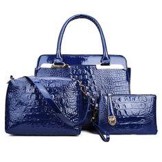 Metal Crocodile Embossed PU Leather Tote - BLUE