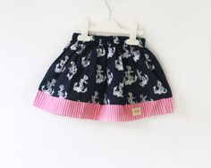 Navy Girl's Skirt Anchor Skirt Navy Blue and Pink by DearMimiDress