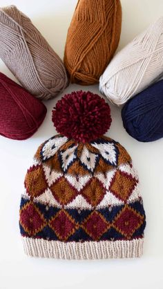 Festive Fair Isle Beanie – Free Pattern Diy Knitting Kit, Baby Knitting Patterns, Hand Knitting, Hat Patterns, Knit Beanie Pattern, Lion Brand Wool Ease, Circular Knitting Needles, Maker, Hand Dyed Yarn