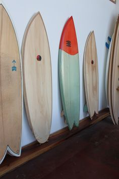 vintage surfboards - wood and colour