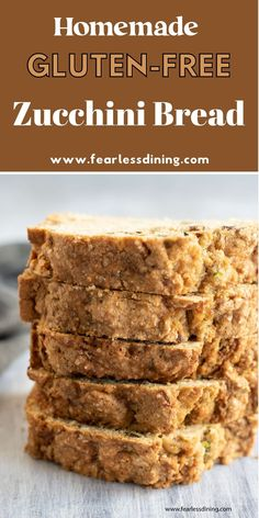 This quick and easy gluten free zucchini bread is full of delicious flavor. It is perfect for hiding veggies, nobody will know this bread is healthy. Sweet and delicious, especially with walnuts. Bake as a loaf in loaves pans or as muffins. www.fearlessdining.com Good Gluten Free Bread Recipe, Gluten Free Zucchini Bread, Gluten Free Recipes, Bread Recipes, Hidden Veggies, Yummy Snacks, Family Meals, Muffins, Baking