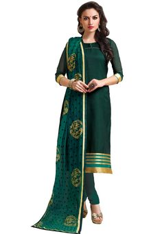 """#Green Banarasi #Chanderi Jacquard #Chuddidar Kameez with #Dupatta  """"#Green Banarasi #Chanderi Jacquard kameez designed with #Zari,Resham Embroidery And #Patch Patta Work. Available with #Green Santoon Bottom.  INR:1,354.00  With Exclusive Discounts   Grab: http://tinyurl.com/hqwhfbv"""