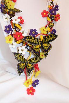 Butterfly Necklace  Colorful Pendant  Polymer by Jewelrylimanska