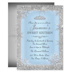 Silver Winter Wonderland Blue Sweet 16 Invitation Quinceanera Planning, Quinceanera Decorations, Quinceanera Party, Quinceanera Dresses, Cinderella Quinceanera Themes, Christening Invitations, Bridal Shower Invitations, Birthday Invitations, Cinderella Invitations