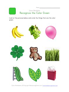 Teach kids to recognize the color green. This printable colors worksheet will help children practice recognizing the color green. Check out this printable color green worksheet and lots more preschool worksheets at Kids Learning Station. Color Worksheets For Preschool, Preschool Colors, Preschool Learning Activities, Free Preschool, Nursery Worksheets, Science Worksheets, Color Flashcards, Flashcards For Kids, Colors For Toddlers