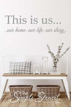 This Is Us vinyl wall decal that looks great in the entry way to your family home or displayed over a #familypicture grouping to celebrate and share your home... your life and your story with all your guests and friends. Easy to install, actually looks painted on (no clear background) and 100% removable when you're ready for change. Made in USA, since 2002 Satisfaction Guaranteed #thisisus #familyroomdecor #familyroom #foyer #foyerdecor #entryway #entrywaydecor #family #familystory… Large Wall Decals, Vinyl Wall Decals, Home Office Decor, Entryway Decor, Home Decor, Family Room Walls, Hallway Decorating, Decorating Ideas, Monogram Wall