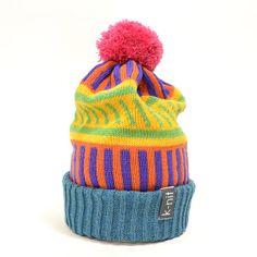 K-nit Hayward Stripealooza Hand Knit Winter Hat Bobble Beanie - Multi