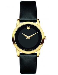 Movado Ladies Museum Classic Watch - Black Dial Gold Tone - Black Leather Strap