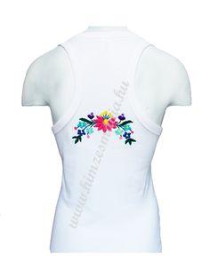 Tanktop - Kalocsa folk embroidery - white