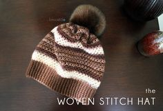 Crochet Woven Stitch Hat. Free pattern with pictorial.