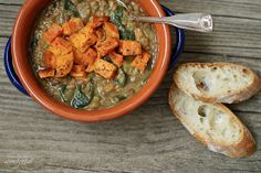 Lentil spinach roasted sweet pot soup | love the half blended quality and roasted sweet pots on top | recommended by HH
