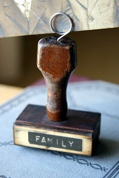 photo holder made from a vintage rubber stamp.