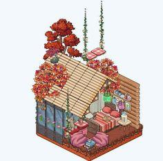 Habbo Pixel, Aesthetic Art, Aesthetic Anime, Cool Pixel Art, Minecraft Anime, Teapot Design, Isometric Art, Cute Easy Drawings, Cute House