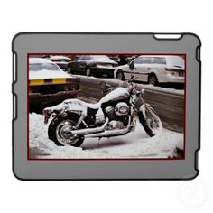 'MOTORCYCLE IN WINTER' iPAD CASE, by The Flying Pig Gallery on Zazzle (lizadeyphoto) - A snow-covered bike parked on a wintry New York City street makes this iPad case the perfect gift for any motorcycle-lover!