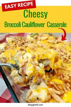 This Cheesy Broccoli Cauliflower Casserole is the perfect side dish for any night of the week or to serve with your holiday dinner. #broccoli #cauliflower #casserole #cheese #friedonions #holidaysidedishes Side Dish Recipes, Easy Dinner Recipes, Easy Meals, Brunch Recipes, Holiday Recipes, Easy Recipes, Stuffing Recipes For Thanksgiving, Thanksgiving Food, Broccoli Cauliflower Casserole