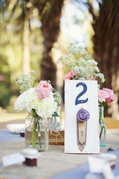 Vintage doorknob table numbers: http://www.stylemepretty.com/2015/06/28/vintage-inspired-wedding-details-we-love/