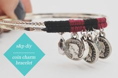TUTORIAL - studs and pearls: diy: Coin Charm Bracelet Great way to use my old European coins(? Fashion Bracelets, Bangle Bracelets, Diy Bracelet, Gold Bangles, Jewelry Crafts, Handmade Jewelry, I Love Diy, Diy Fashion Projects, Jewelry Making