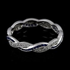 Infinity Wedding Rings | Diamond Sapphire Infinity Eternity Wedding Ring Band 18K White Gold