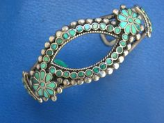 9a05beaa56e Details about Hopi Indian Signed Frank Nutaima FN Sterling Horse Inlay  Intarsia Cuff Bracelet