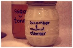 Cucumber and coconut milk facial cleanser.