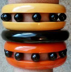 Vintage bakelite bracelets.