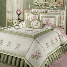 Rose Haven Embroidered King Comforter Bedding