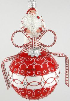"""♥""""Anniversary Orb"""" Red and White Tracery Ornament by Patricia Breen - Peachtree Place♥"""