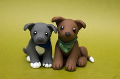 Two Pitties dog sculpture by SculpyPups.deviantart.com on @DeviantArt