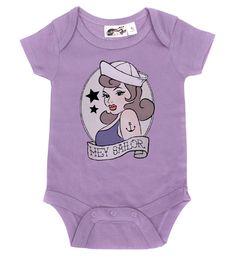 Hey Sailor Lavender One Piece - My Baby Rocks www.punkbabycloth... www.mybabyrocks.com #mybabyrocks #punkbabyclothes #baby