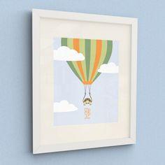 Childrens Wall Art, Nursery Art, Hot Air Balloon Tortoise Print - 8x10in or A4 on Etsy, $19.63