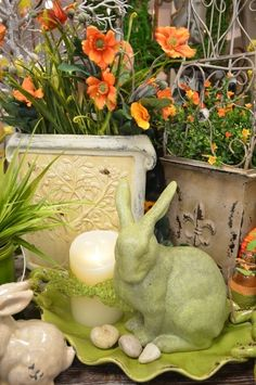 Pretty little pops of ORANGE next to this soft green bunny and a beautiful Luminara candle.