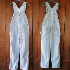 "Vintage Big Mac Navy Striped Overalls | 31"" Waist Medium 