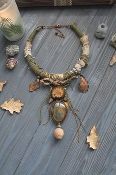 Ancient Forest necklace by Witchy.Vision Earthy jewelry for Green witch Wiccan Jewelry, Fall Jewelry, Viking Jewelry, Gothic Jewelry, Antique Jewelry, Beaded Jewelry, Jewelry Accessories, Handmade Jewelry, Jewelry Design