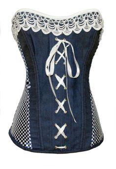 Nuevo modelo disponible en Tienda física y en Tienda Online Moderno y juvenil corset en tejido denim con puntilla y lazos en color blanco con cuadros vichy en laterales. Escote palabra de honor. Cierre lateral de cremallera. Ceñidores de cintas en espalda y tapa trasera. Varillas semirrígidas indeformables. Precio: 39,90 € Compra Online: http://bit.ly/1exZDBX #corsets #madrid #tienda #online