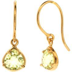Dinny Hall Gold Vermeil Lemon Quartz Trillion Sheba Drop Earrings ($180) ❤ liked on Polyvore featuring jewelry, earrings, drop earrings, handcrafted jewelry, dinny hall, vermeil earrings and hand crafted jewelry