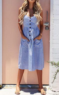 Summer Sexy Striped Pocket White Vintage Bohemian Dress - How To Be Trendy Blue Midi Dress, Blue Dresses, Casual Dresses, Sexy Dresses, Casual Outfits, Vintage Summer Dresses, Cheap Dresses, Fancy Dress, Dress Vestidos