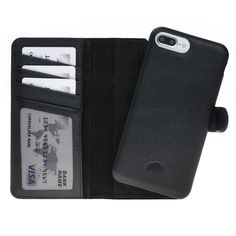 544f0137c4643 Burkley Full Leather Covered Magnetic Detachable Wallet Case for Apple  iPhone 7 PLUS in Rolex Black