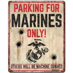 USMC 'Marine Parking Only' 7.62 Design Vintage Steel Sign