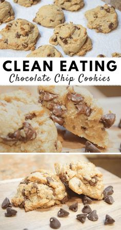 Clean Eating Chocolate Chip Cookies - Clean Eating Chocolate Chip Cookies - Clean Eating Chocolate Chip Cookies- clean cookies, real ingredients, and they taste amazing!<br> No processed sugar Healthy Cookie Recipes, Healthy Cookies, Healthy Sweets, Healthy Baking, Gourmet Recipes, Low Calorie Cookies, Protein Cookies, Low Sugar Cookies, Vegetarian Recipes